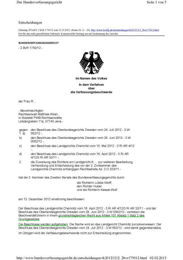 1 BvR 1750_12 Gesetzlicher Richter 20121212_Seite_1