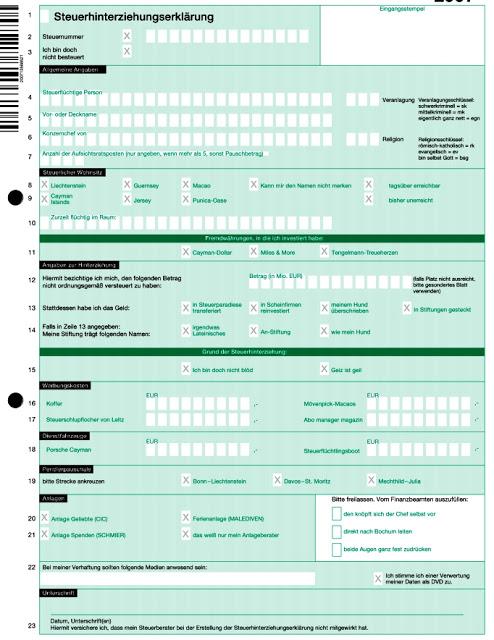 Formular Steuerhinterziehung