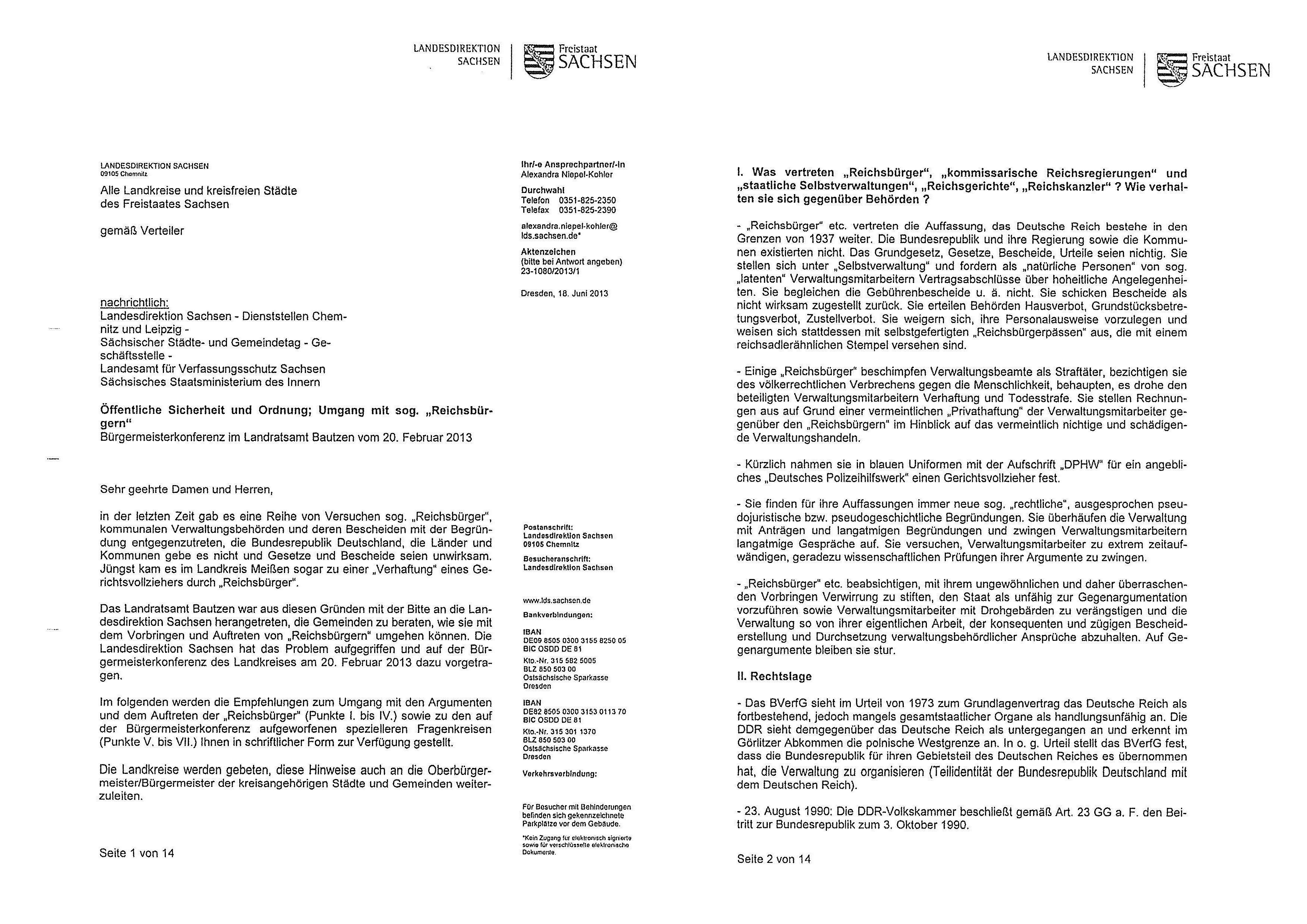"""Interne Dienstanweisung """"Sachsen"""" – Umgang mit """"Reichsbürgern ..."""