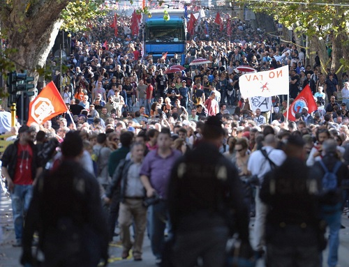 Anti-austerity protest in Rome