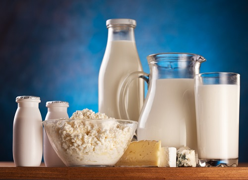 Different milk products: cottage cheese, cream, milk, yoghurt.  On a blue background.