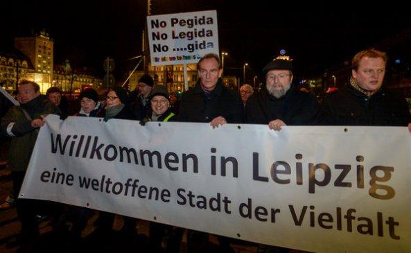 Protest gegen islamkritische-Bewegung Legida in Leipzig