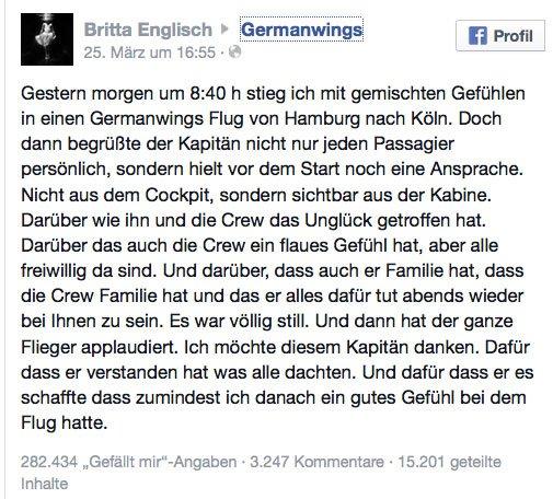 Germanwings-Post-Passagier