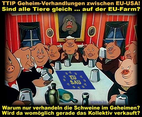 TTIP-Geheimverhandlung-der-Schweine-Animal-Farm-der-Tiere-Freihandelsabkommen-Schweineladen-Schweinebande