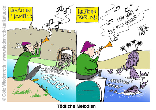 PK151023_Asyl_Immigation_Fluechtlinge_Merkel_Rattenfaengerei